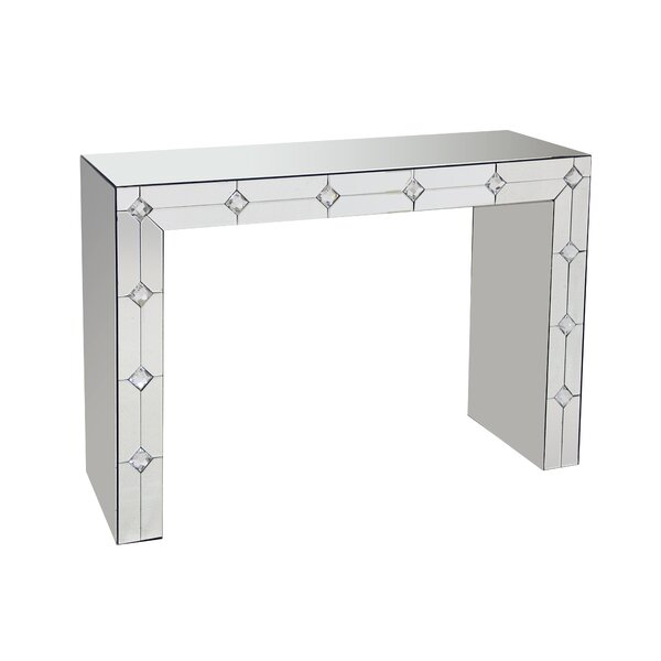 Donatella Front Mirrored Rectangular Sled Console Table By House Of Hampton