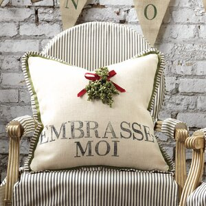 Joyeaux Noel Embrasse-Moi Throw Pillow