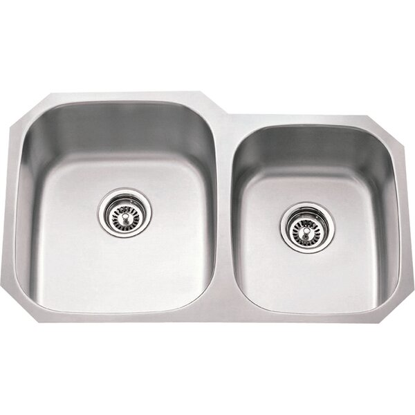 32 L x 24.75 W Double Bowl 16 Gauge 60/40 Stainless Steel Undermount Kitchen Sink by Hardware Resources