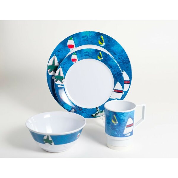 Decorated Spinnaker Melamine 16 Piece Dinnerware Set, Service for 4 by Galleyware Company