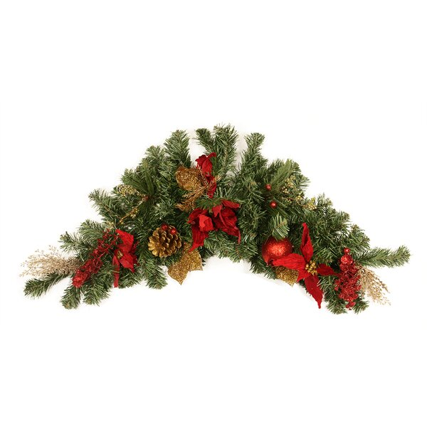 Pre Decorated Pine Poinsettia Eucalyptus and Pine Cone Artificial Christmas Swag by Northlight Seasonal
