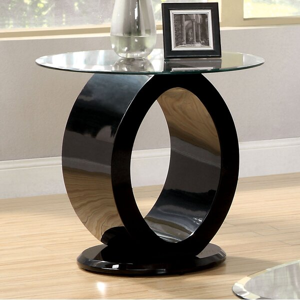Everette Glass Top Abstract End Table By Orren Ellis