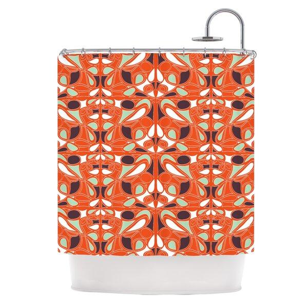 Orange Swirl Kiss Shower Curtain by KESS InHouse