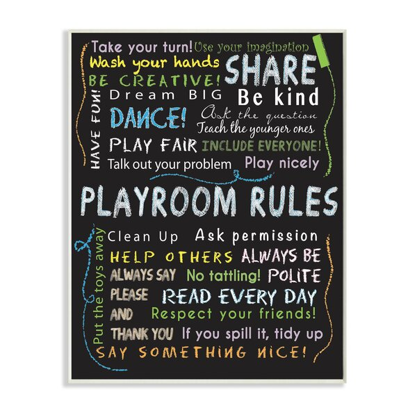 Playroom Rules Chalk Wall Plaque by Stupell Industries