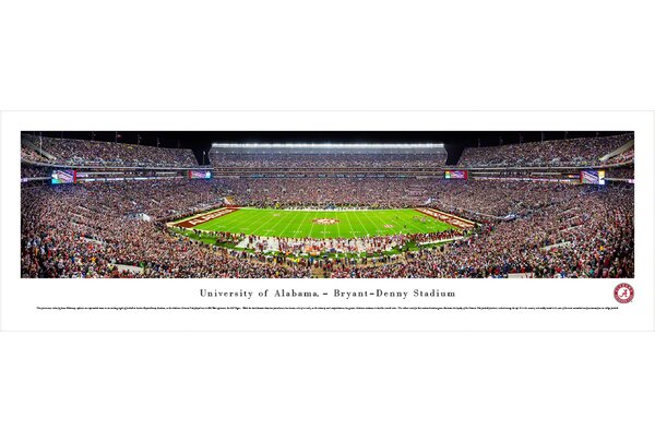 NCAA Alabama, University of - 50 Yd (Night) by James Blakeway Photographic Print by Blakeway Worldwide Panoramas, Inc