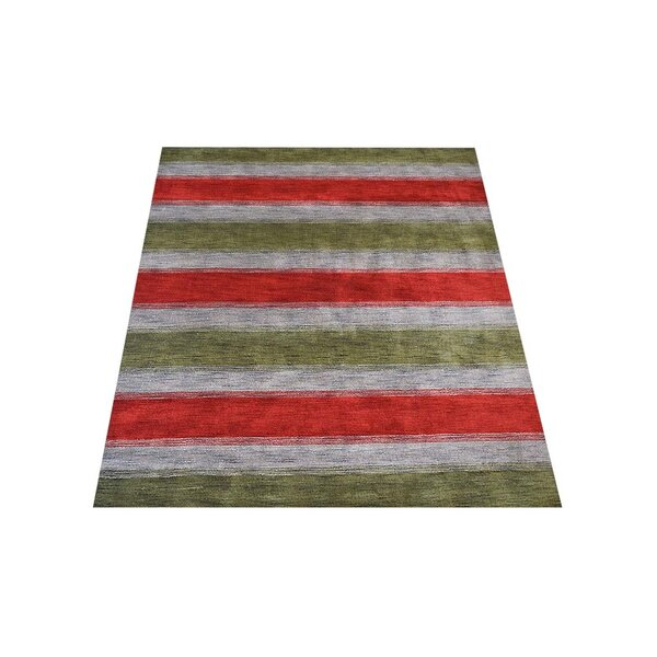 Ry Hand-Knotted Wool Green/Red Area Rug by Latitude Run