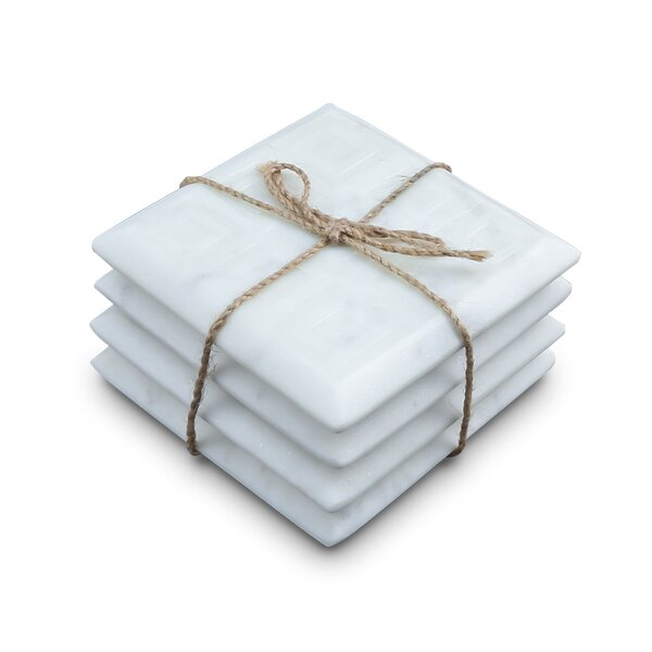 Hamler Marble Square Coaster (Set of 4) by Wrought Studio