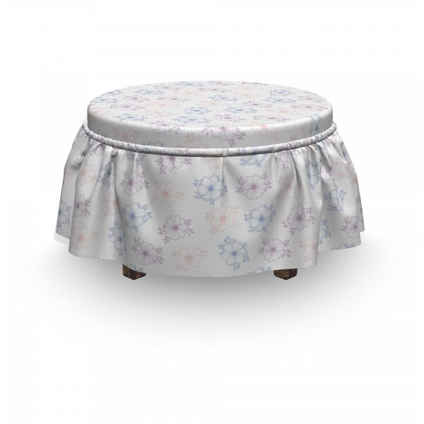 Anemone Flower Bridal Corsage 2 Piece Box Cushion Ottoman Slipcover Set By East Urban Home