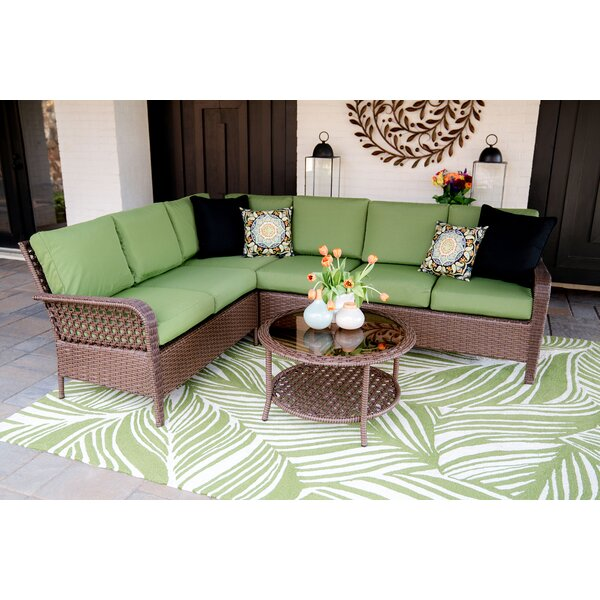 Kettner 5 Piece Rattan Sectional Seating Group with Cushions by Bayou Breeze