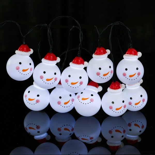 Snowman Solar Outdoor LED 10 Light String Lighting by Winsome House