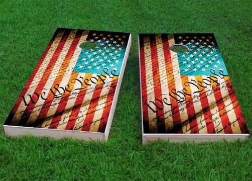 Worn Flag We The People Cornhole Game (Set of 2) by Custom Cornhole Boards