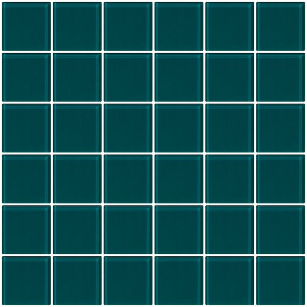 Bijou 22 2 x 2 Glass Mosaic Tile in Deep Teal Green by Susan Jablon