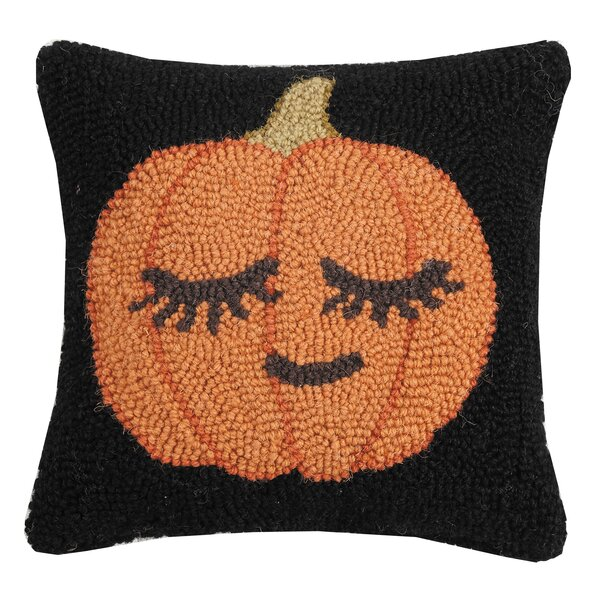 Mckamey Shy Pumpkin Hook Wool Throw Pillow by The Holiday Aisle