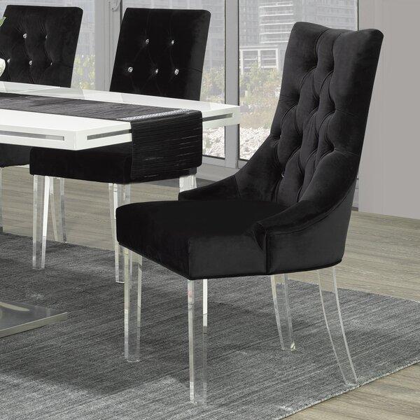 Crystal Studded Velvet Upholstered Side Chair by !nspire