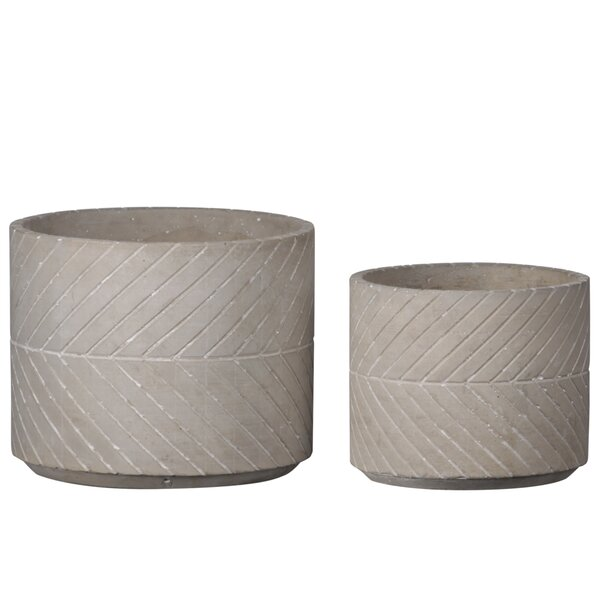 Ozan Round 2 Piece Cement Pot Planter Set by Williston Forge