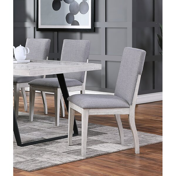 Norazn Upholstered Solid Wood Side Chair in Gray (Set of 2) by Gracie Oaks Gracie Oaks