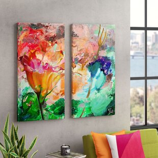Painted Petals LXI 2 Piece Graphic Art Print Multi Image On Canvas