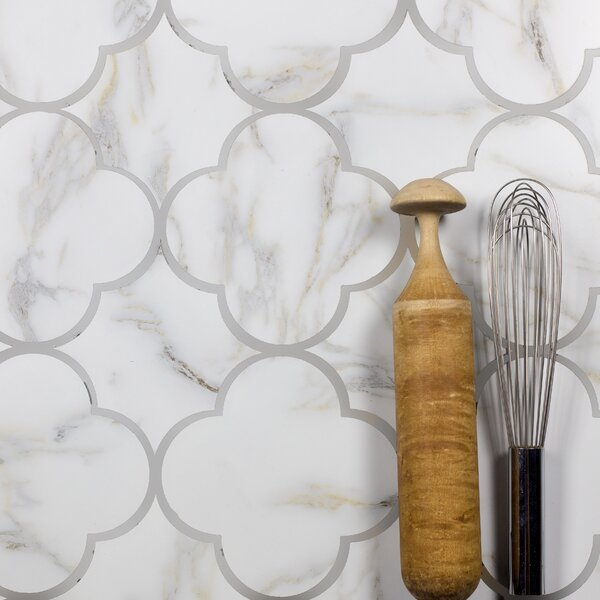 Nature Big Bang 6 x 6 Glass Tile in Calacatta Gold/Gray Veins by Abolos