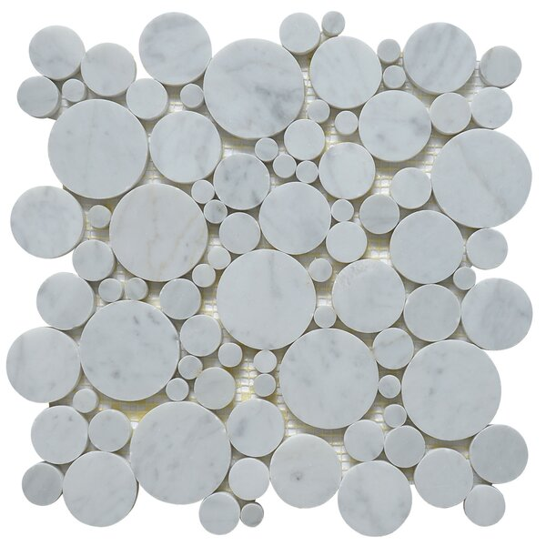 Bolle Carrara Random Sized Marble Mosaic Tile in White by Matrix Stone USA