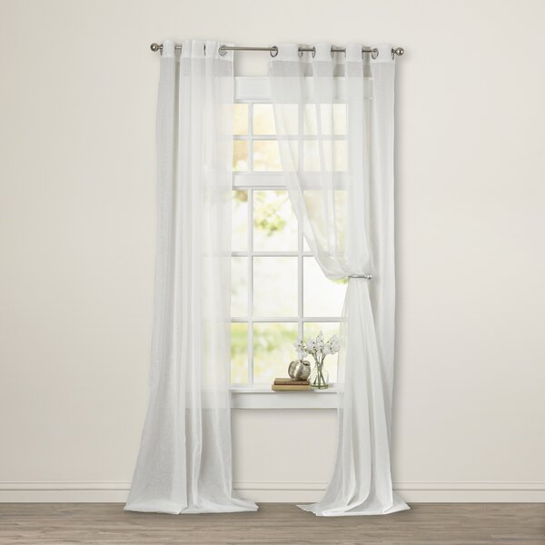 Odessa Solid Semi Sheer Outdoor Grommet Single Curtain Panel By Beachcrest Home.