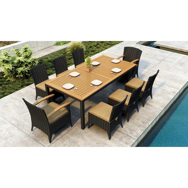 Aisha 9 Piece Teak Sunbrella Dining Set with Cushions by Brayden Studio