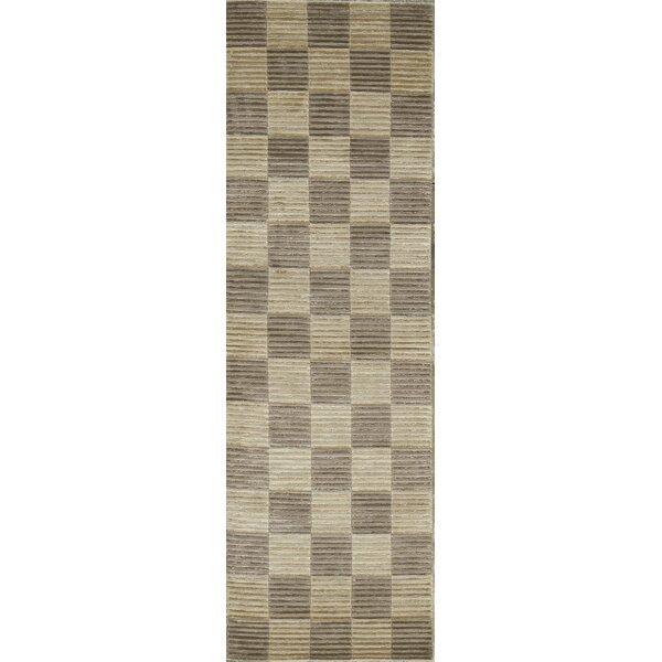 One-of-a-Kind Tibetan Handwoven Wool Beige/Brown Indoor Area Rug