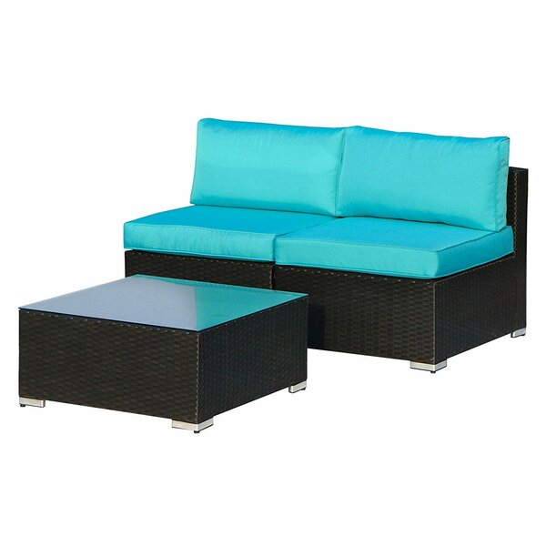 Sonay Outdoor 3 Piece Rattan Seating Group with Cushions by Latitude Run Latitude Run