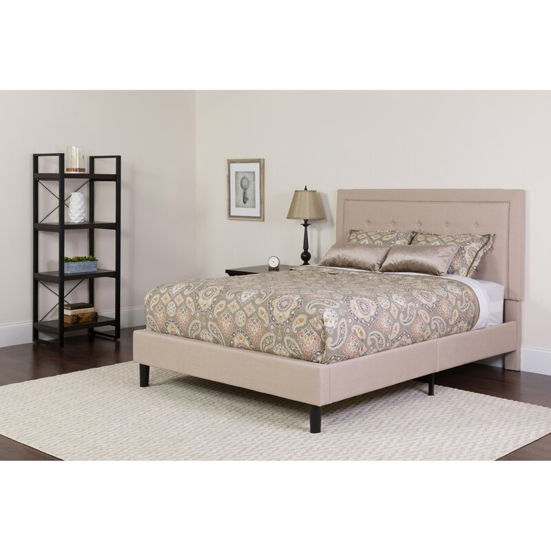 98ae3ac3775cd Charlton Home Porcaro Tufted Upholstered Platform Bed with Mattress ...