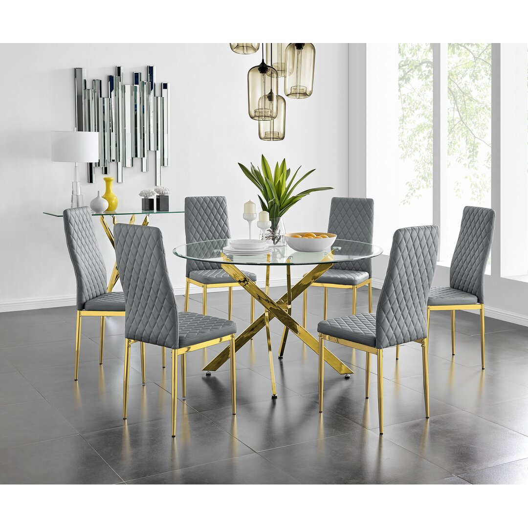 Eubanks 120Cm Gold Round Dining Table And 6 Grey Gold Leg