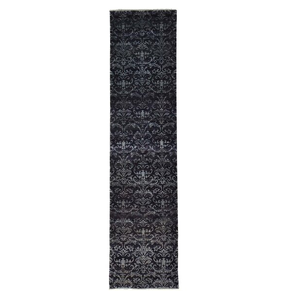 Tone on Tone Damask Hand-Knotted Purple Area Rug by Bloomsbury Market