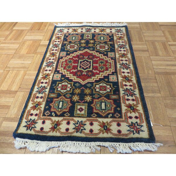 One-of-a-Kind Padula Tribal Super Hand-Knotted Wool Navy Blue Area Rug by Bloomsbury Market