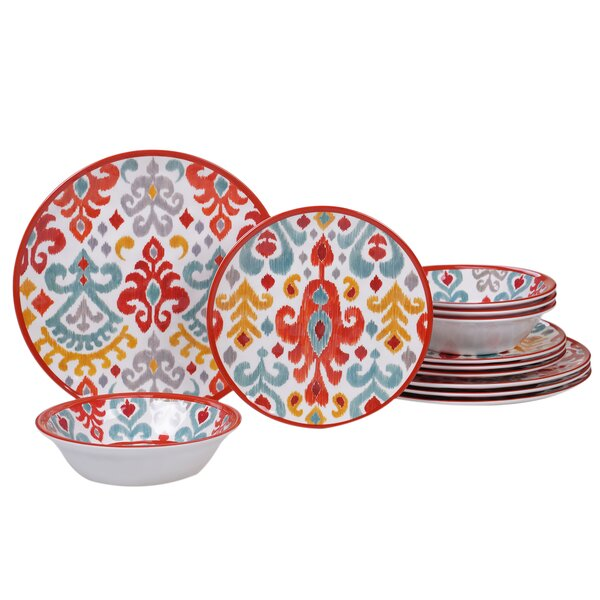 Simen 12 Piece Melamine Dinnerware Set, Service for 4 by Bungalow Rose