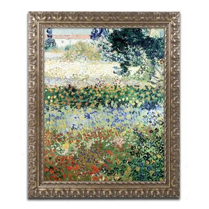 Garden in Bloom by Vincent van Gogh Framed Painting Print by Trademark Fine Art