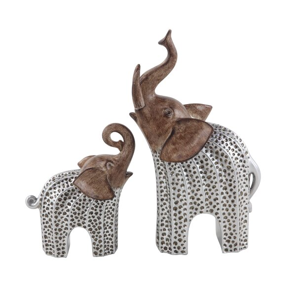 Heimbach Elephant Resin 2 Piece Figurine Set by World Menagerie