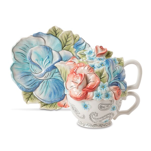 Paisley Park 2 Piece Earthenware Tea Set By Fitz And Floyd.