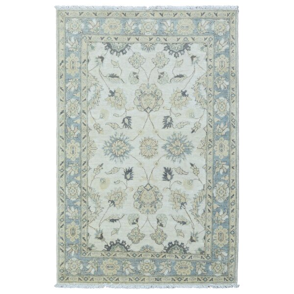 One-of-a-Kind Baron Hand-Knotted Wool Beige/Blue Area Rug by Isabelline