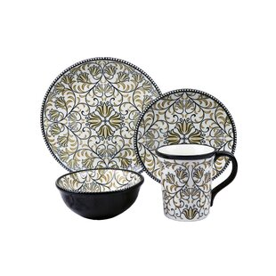 Bimini Beaded 16 Piece Dinnerware Set Service for 4  sc 1 st  Wayfair & Black Bear Dinnerware | Wayfair