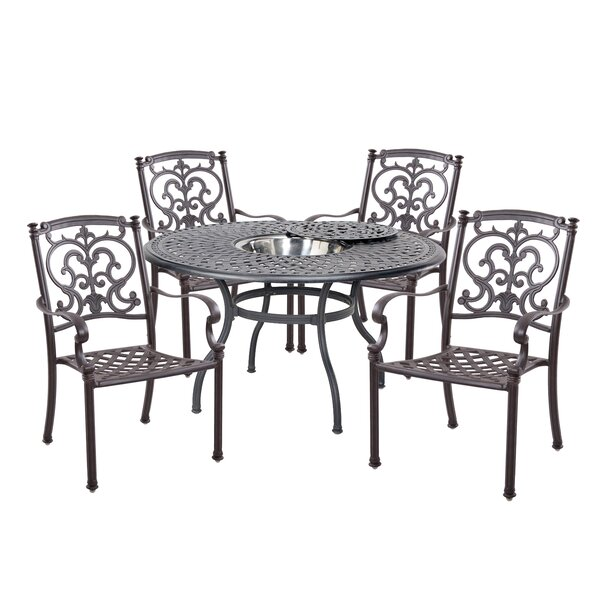 Batista Traditional 5 Piece Dining Set with Cushions by Fleur De Lis Living