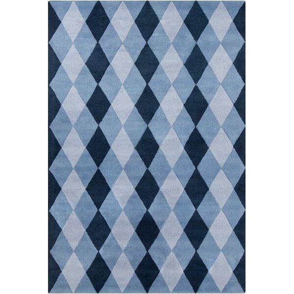 Esquina Patterned Contemporary Wool Blue Area Rug by Red Barrel Studio