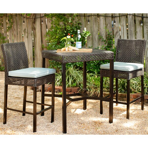 Joshua 3 Piece Dining Set with Cushions by Bungalow Rose