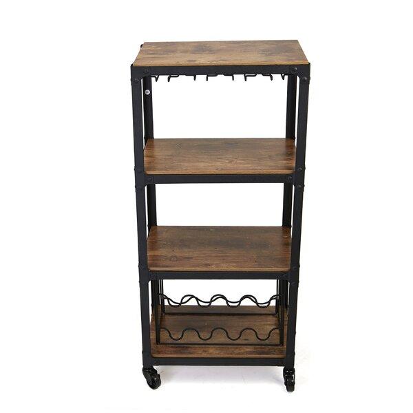 4 Tier Wood and Metal Bar Cart by Mind Reader Mind Reader