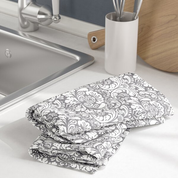 Damask Cotton Dishtowel (Set of 2) by Three Posts
