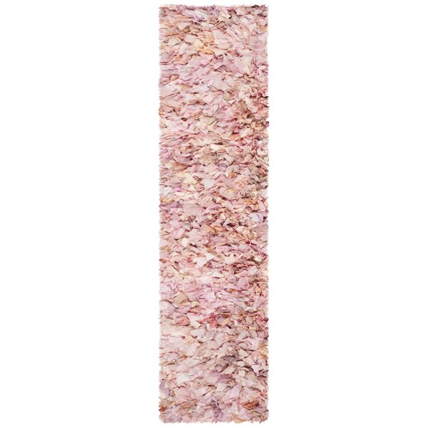 Messiah Ivory/Pink Shag Area Rug by Bungalow Rose