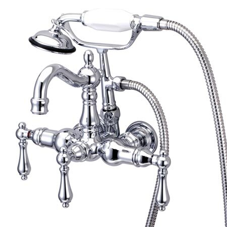 Vintage Triple Handle Wall Mounted Clawfoot Tub Faucet With Handshower By Kingston Brass