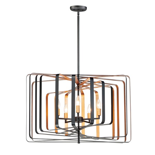Krupa 5-Light Candle Style Geometric Chandelier By George Oliver