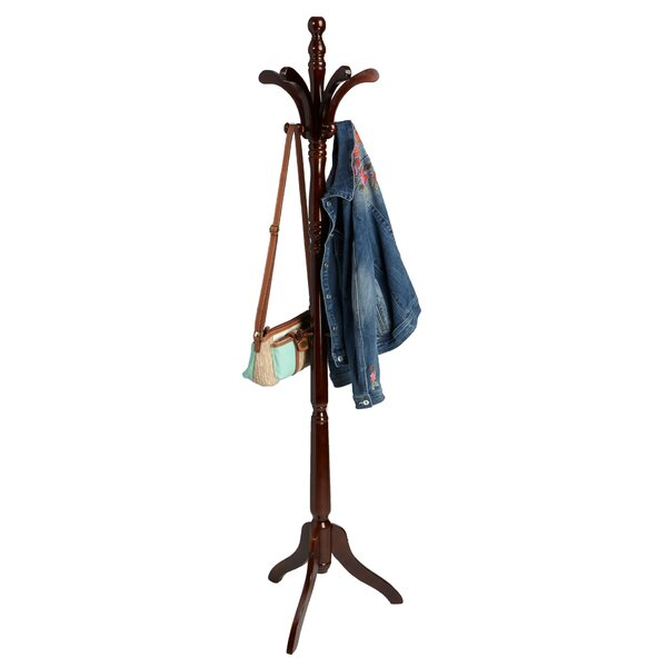 Free Standing 11 Hook Wooden Coat Rack by Mind Reader