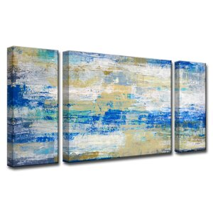 'Sandals and Shores' by Norman Wyatt Jr. 3 Piece Painting Print on Wrapped Canvas Set by Ready2hangart