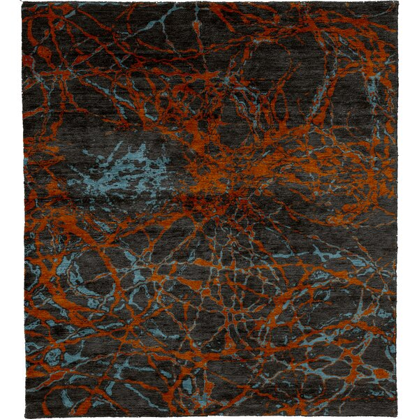 One-of-a-Kind Elle Hand-Knotted Traditional Style Orange/Brown/Azure 12' x 18' Area Rug