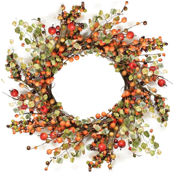 Autumn Harvest 22 Decorative Artificial Berries with Leaves Wreath by Northlight Seasonal