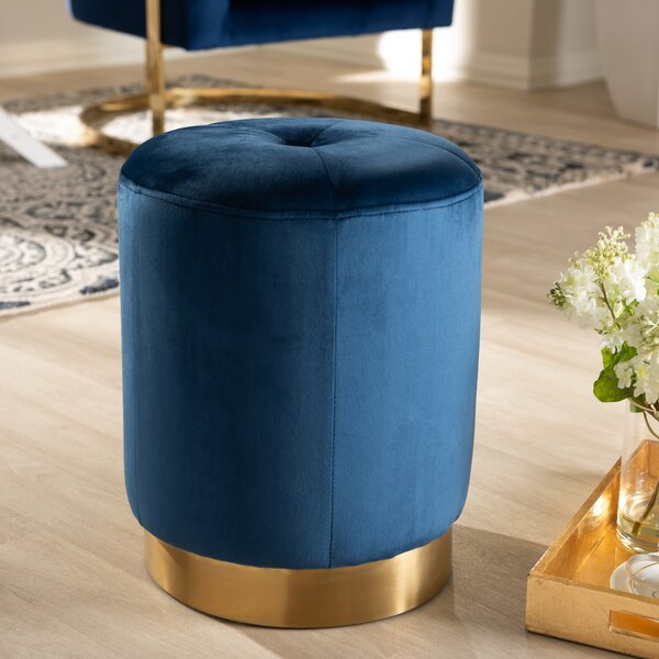 Zinnia Glam Upholstered Tufted Ottoman by Mercer41